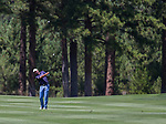 Josh Teater swings during the Barracuda Championship PGA golf tournament at Montrêux Golf and Country Club in Reno, Nevada on Sunday, July 28, 2019.