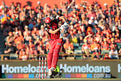 8th January 2018, The WACA, Perth, Australia; Australian Big Bash Cricket, Perth Scorchers versus Melbourne Renegades; Cameron White of the Melbourne Renegades fends off a Mitchell Johnson of the Perth Scorchers short ball