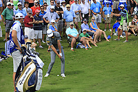 Dustin Johnson (USA) chips onto the 15th green during Saturday's Round 3 of the 2017 PGA Championship held at Quail Hollow Golf Club, Charlotte, North Carolina, USA. 12th August 2017.<br /> Picture: Eoin Clarke | Golffile<br /> <br /> <br /> All photos usage must carry mandatory copyright credit (&copy; Golffile | Eoin Clarke)