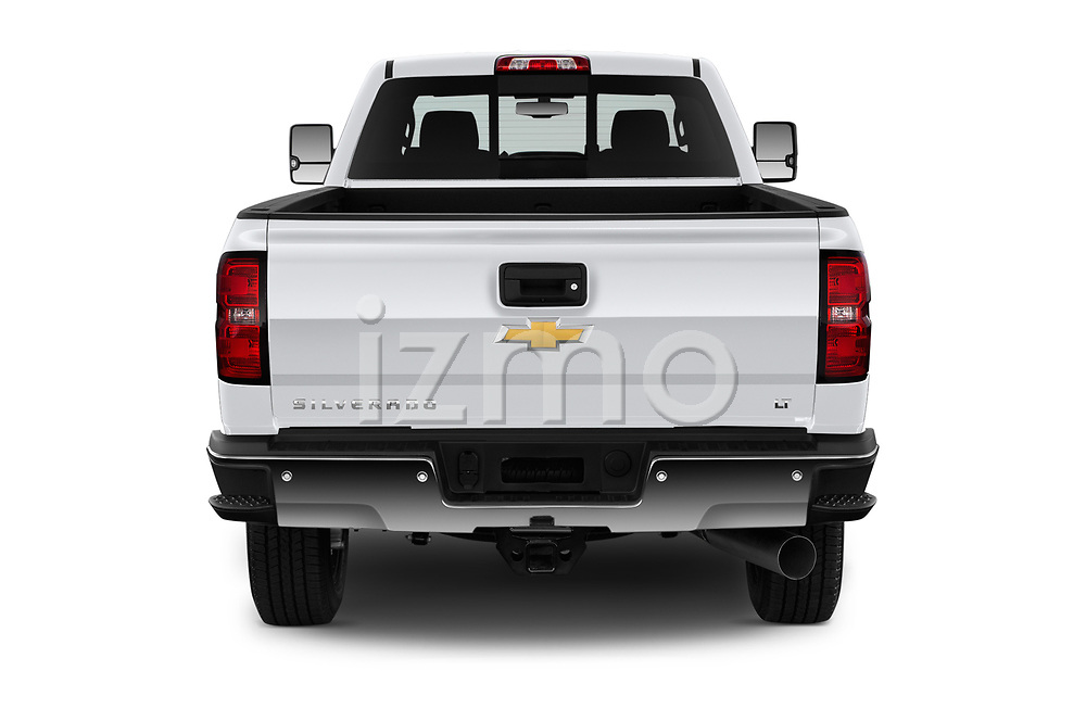 Straight rear view of a 2019 Chevrolet Silverado 2500 LT Crew Cab 4 Door Pick Up stock images