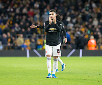 4th January 2020; Molineux Stadium, Wolverhampton, West Midlands, England; English FA Cup Football, Wolverhampton Wanderers versus Manchester United; Andreas Pereira of Manchester United applauds the supporters after the match - Strictly Editorial Use Only. No use with unauthorized audio, video, data, fixture lists, club/league logos or 'live' services. Online in-match use limited to 120 images, no video emulation. No use in betting, games or single club/league/player publications