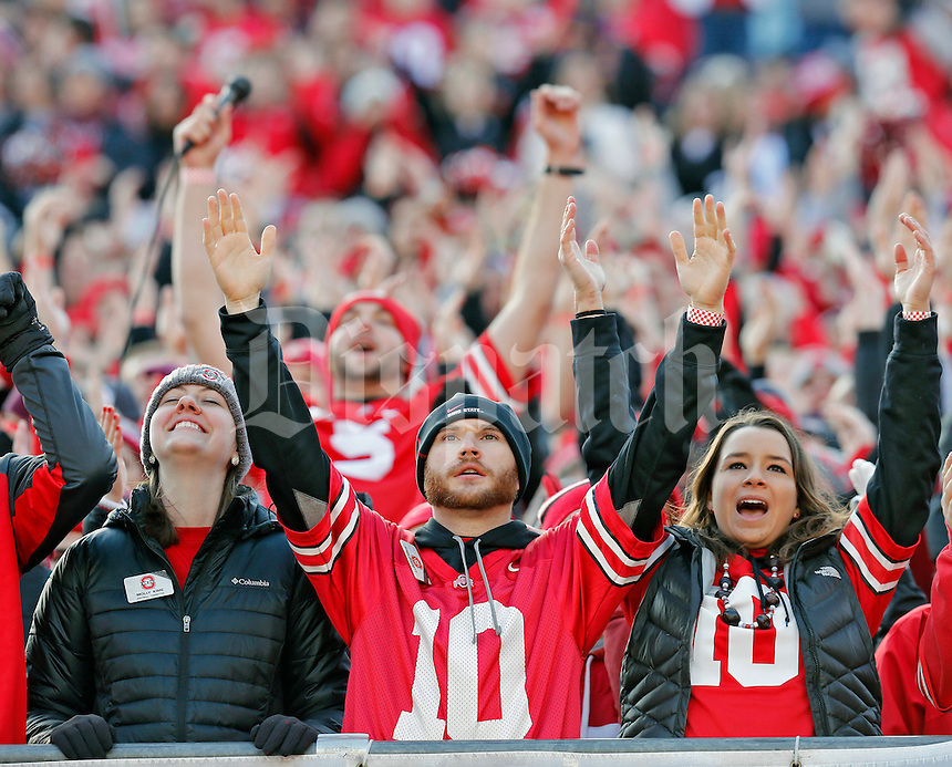 Ohio State Buckeyes fans against Michigan Wolverines at Ohio Stadium in Columbus, Ohio on November 29, 2014.  (Dispatch photo by Kyle Robertson)