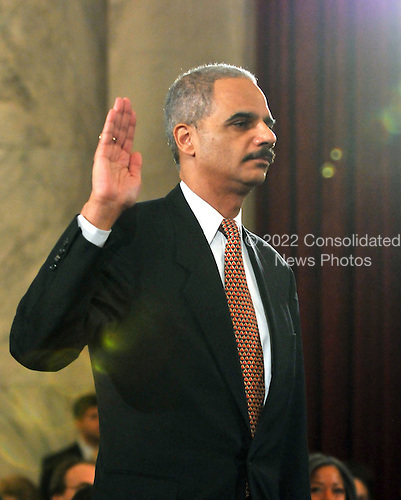 Washington, DC - January 15, 2009 -- Eric Holder is sworn-in to testify before the United States Senate Judiciary Committee confirmation hearing on his nomination as Attorney General in Washington, D.C. on Thursday, January 15, 2009..Credit: Ron Sachs / CNP.