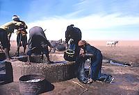 Touareg supplying water from a desert well