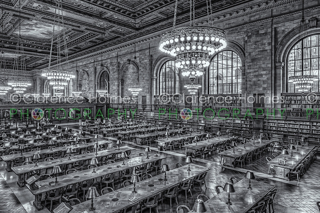 An elevated view of the Rose Main Reading Room in the main branch of the New York Public Library on 5th Avenue and 42nd Street in New York City.