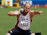 Adam Nelson of the USA qualified for the finals of the shot put with a toss of 20.81m at the 11th. IAAF World Championships in Osaka, Japan on Saturday, August 25, 2007. Photo by Errol Anderson,The Sporting Image.
