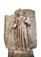 "Roman Sebasteion relief sculpture personifing a Balkan Warrior  Aphrodisias Museum, Aphrodisias, Turkey.  Against a white background.<br /> <br /> The relief figure personifies a Balkan Warrior tribe defeated by Tiberius in AD 6-8 before he became emperor. She wears a classical dress, cloak and helmet and carries a small shield and probably once a spear. A builder's inscription, ""Pirouston"", written above the shield, ensured the relief was put on the right base"