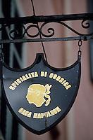 """Europe/France/Corse/2A/Corse-du-Sud/Ajaccio: Enseigne de """"A Casa Napoléon"""" épicerie fine spécialité de produits corses"""