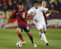 Landon Donavon(10) of the USA MNT moves away from Marcelo Alejandro Estigambia(18) of Paraguay during an international friendly match at LP Field, in Nashville, TN. on March 29, 2011. Paraguay won 1-0.