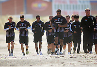 James Musa (third left) trains with Wellington Phoenix at Lyall Bay on Friday..A-League Football - Wellington Phoenix Training Session at Lyall Bay, Wellington. Thursday, 29 October 2009. Photo: Dave Lintott