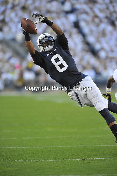 12 October 2013:  Penn State WR Allen Robinson (8) leaps to attempt a catch on an out route. The Penn State Nittany Lions defeated the Michigan Wolverines 43-40 in 4OTs at Beaver Stadium in State College, PA.