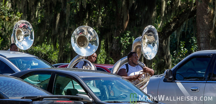 TALLAHASSEE, FL - SEPTEMBER 5, 2013:   <br /> Samuel Fontus, a sophomore from Lauderdale Lakes, FL,  arrives at the FAMU Marching 100 band practice on the Florida A&amp;M University campus.