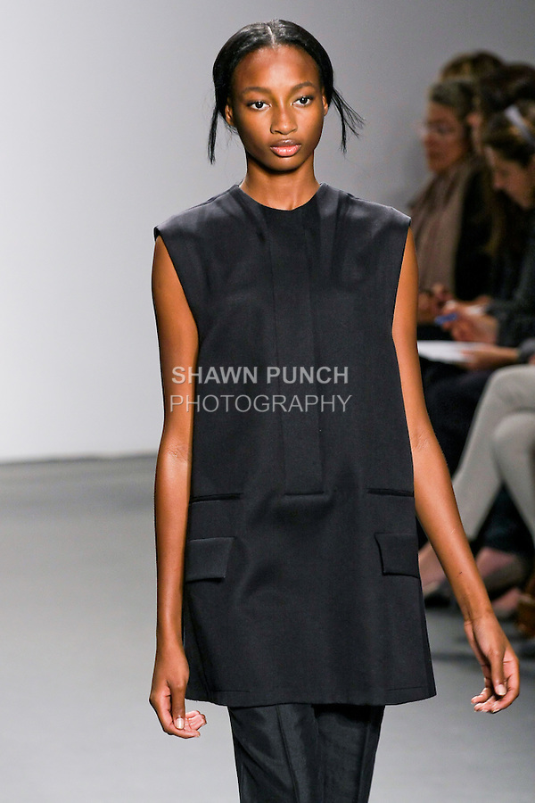 Model walks the runway in a Calvin Klein Collection Spring 2011, designed by Francisco Costa, during the Mercedes-Benz Spring 2011 Fashion Week, September 16, 2010.