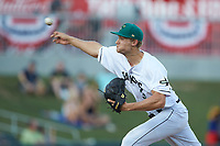 Augusta GreenJackets relief pitcher Preston White (31) delivers a pitch to the plate against the Kannapolis Intimidators at SRG Park on July 6, 2019 in North Augusta, South Carolina. The Intimidators defeated the GreenJackets 9-5. (Brian Westerholt/Four Seam Images)