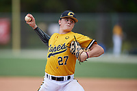 Cade Kuehler (27) during the WWBA World Championship at the Roger Dean Complex on October 12, 2019 in Jupiter, Florida.  Cade Kuehler attends Cuthbertson High School in Waxhaw, NC and is committed to Campbell.  (Mike Janes/Four Seam Images)
