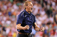 The United States head coach Jurgen Klinsmann celebrates the USA goal. The men's national teams of the United States (USA) and Mexico (MEX) played to a 1-1 tie during an international friendly at Lincoln Financial Field in Philadelphia, PA, on August 10, 2011.