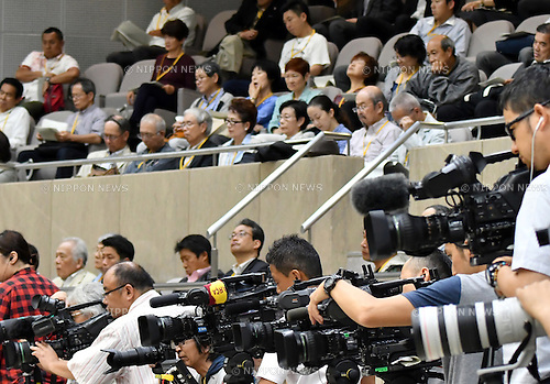 June 7, 2016, Tokyo, Japan - The gallery of the Tokyo Metropolitan Assembly is fully packed <br /> during a question-and-answer session at the City Hall on Tuesday, June 7, 2016. Tokyo Gov. Yoichi Masuzoe was grilled for his improper use of political funds during the session. Masuzoe said on Monday that he will remain in the office after an investigation report found the use of 4.4 million yen political funds was improper but not illegal.  (Photo by Natsuki Sakai/AFLO) AYF -mis-