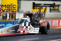 Jul 18, 2020; Clermont, Indiana, USA; NHRA top fuel driver Cory McClenathan during qualifying for the Summernationals at Lucas Oil Raceway. Mandatory Credit: Mark J. Rebilas-USA TODAY Sports