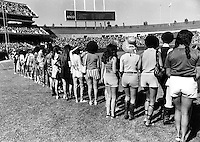"Oakland Athletics game 1971 females line up for a Charlie Finley promotion ""Hot Pants"" contest before the A's game. (1971 photo/Ron Riesterer)"