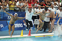 celebrate NOVARA Ettore ITALY and CANNELLA Giacomo ITALY, ANGELINI Alberto coach ITALY celebrate the victory <br /> Napoli 14-07-2019 Piscina Scandone <br /> Napoli 2019 30th Summer Universiade 3 - 14 July 2019<br /> ITALY - USA <br /> Water Polo Men Final <br /> Photo Cesare Purini / Insidefoto
