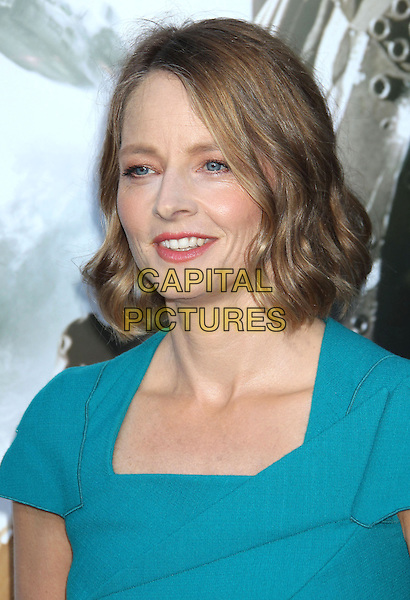 Jodie Foster<br /> &quot;Elysium&quot; Los Angeles Premiere held at the Regency Village Theatre, Westwood, California, UK,<br /> 7th August 2013.<br /> portrait headshot blue turquoise dress teal smiling <br /> CAP/ADM/RE<br /> &copy;Russ Elliot/AdMedia/Capital Pictures