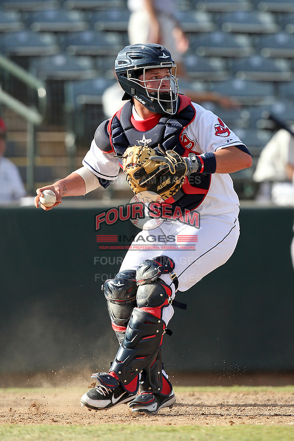 Phoenix Desert Dogs catcher Roberto Perez #10 during an Arizona Fall League game against the Salt River Rafters at Phoenix Municipal Stadium on November 1, 2011 in Phoenix, Arizona.  Salt River defeated Phoenix 10-7.  (Mike Janes/Four Seam Images)