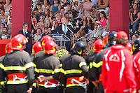 Angelino Alfano durante il suo discorso ai pompieri<br /> Roma 23-07-2015 Scuole centrali antincendio di Capannelle. Giuramento di 620 Allievi Vigili del fuoco.<br /> Photo Samantha Zucchi Insidefoto