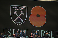 Lest we forget during West Ham United vs Burnley, Premier League Football at The London Stadium on 3rd November 2018