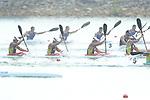Momotaro Matsushita,  Hiroki Fujishima, Keiji Mizumoto, Seiji Komatsu (JPN), <br /> AUGUST 30, 2018 - Canoe Sprint : <br /> Men's Kayak Four 500m Final <br /> at Jakabaring Sport Center Lake <br /> during the 2018 Jakarta Palembang Asian Games <br /> in Palembang, Indonesia. <br /> (Photo by Yohei Osada/AFLO SPORT)