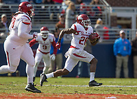 Hawgs Illustrated/BEN GOFF <br /> Josh Liddell (28), Arkansas free safety, runs back an interception in the second quarter against Ole Miss Saturday, Oct. 28, 2017, at Vaught-Hemingway Stadium in Oxford, Miss.
