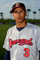 Brevard County Manatees shortstop Yadiel Rivera #3 poses for a photo before a game against the Lakeland Flying Tigers on April 10, 2013 at Joker Marchant Stadium in Lakeland, Florida.  Brevard County defeated Lakeland 7-6.  (Mike Janes/Four Seam Images)