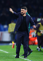 25th February 2020; Stadio San Paolo, Naples, Campania, Italy; UEFA Champions League Football, Napoli versus Barcelona; Gennaro Gattuso coach of Napoli animated on the sideline