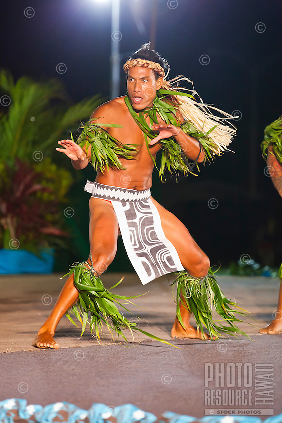 A young man giving a powerful performance at the annual Kauai Polynesian Festival