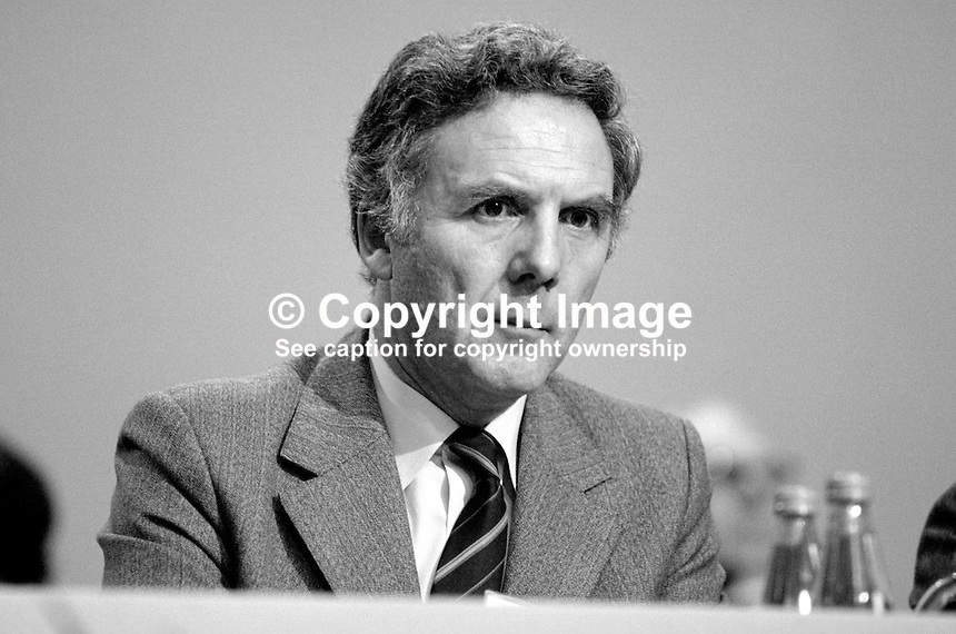 Alexander Fletcher, MP, Conservative Party, UK, Under Secretary, Trade & Industry, on platform at annual party conference, Brighton. 19840149AF2..Copyright Image from Victor Patterson, 54 Dorchester Park, Belfast, UK, BT9 6RJ..Tel: +44 28 9066 1296.Mob: +44 7802 353836.Voicemail +44 20 8816 7153.Skype: victorpattersonbelfast.Email: victorpatterson@me.com.Email: victorpatterson@ireland.com (back-up)..IMPORTANT: If you wish to use this image or any other of my images please go to www.victorpatterson.com and click on the Terms & Conditions. Then contact me by email or phone with the reference number(s) of the image(s) concerned.