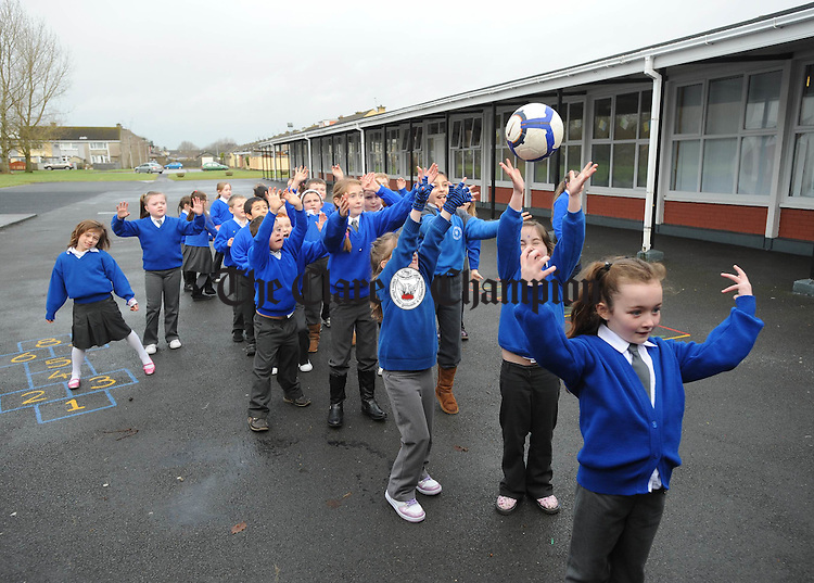 Children play the old game of Yippie -I-O  at St Senan's NS, Shannon. Photograph  by John Kelly.