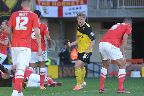15.03.2014 Watford, England. Alex Merkel celebrating his goal during the Championship game between  Watford versus Barnsley from Vicarage Road.