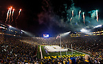 Fireworks mark the end of the Big Chill at the Big House NCAA college hockey game between Michigan and Michigan State, at Michigan Stadium in Ann Arbor, on Saturday, Dec. 11, 2010. Michigan shutout Michigan State 5-0 and set a world record for attendance at a hockey game, playing in front of 113,411. (AP Photo/Tony Ding)