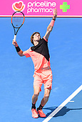 11th January 2018,  Kooyong Lawn Tennis Club, Kooyong, Melbourne, Australia; Priceline Pharmacy Kooyong Classic tennis tournament; Andrey Rublev of Russia serves to Lucas Pouille of France