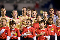 US WNT during the national anthem. The US Women defeated China 1-0 at Home Depot Center stadium in Carson, California on Saturday December 13, 2008. Photo by Michael Janosz