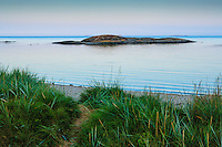 Havsstarnd på Nåttarö i Stockholms skärgård med gräs sand och havets horisont