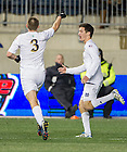 Dec. 13, 2013; Notre Dame midfielder Connor Klekota points to Patrick Hodan after (Hodan) scored against New Mexico in the second half of the College Cup semifinals at PPL Park in Chester, Pa. Notre Dame advances to the finals after defeating New Mexico 2-0. Photo by Barbara Johnston/University of Notre Dame