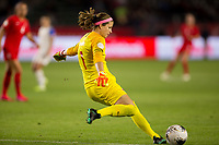CARSON, CA - FEBRUARY 07: GK Stephanie Labbe #1 of Canada sends a goal kick during a game between Canada and Costa Rica at Dignity Health Sports Complex on February 07, 2020 in Carson, California.