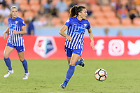 Houston, TX - Wednesday June 28, 2017: Brooke Elby looks to pass the ball during a regular season National Women's Soccer League (NWSL) match between the Houston Dash and the Boston Breakers at BBVA Compass Stadium.
