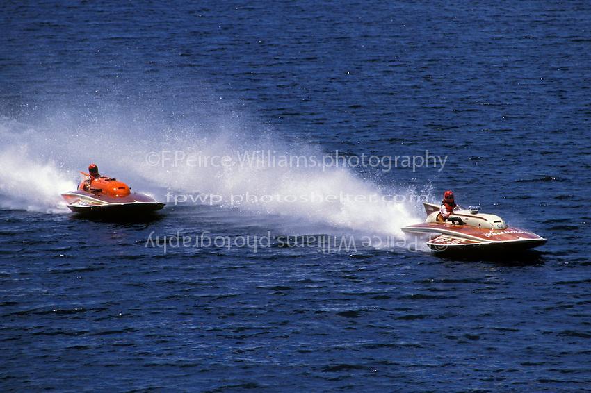 "Sylvain Demers, F-155 ""Zoomerrang"" (6 Litre class hydroplane(s) and Bill Fisk, GP-317 ""The Irishman"" (1971 7 Litre/Grand Prix class Lauterbach hydroplane) Valleyfield, QE Canada 1998"