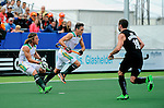 The Hague, Netherlands, June 03: Jonathan Robinson #1 and Rhett Halkett #14 of South Africa rush out of the goal during a penalty corner during the field hockey group match (Men - Group B) between South Africa and the Black Sticks of New Zealand on June 3, 2014 during the World Cup 2014 at GreenFields Stadium in The Hague, Netherlands. Final score 0:5 (0:3) (Photo by Dirk Markgraf / www.265-images.com) *** Local caption ***