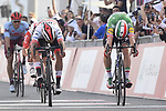 Fernando Gaviria (COL) UAE Team Emirates outsprints lia Viviani (ITA) Deceuninck-QuickStep to win Stage 2 of the 2019 UAE Tour, running 184km form Yas Island Yas Mall to Abu Dhabi Breakwater Big Flag, Abu Dhabi, United Arab Emirates. 25th February 2019.<br /> Picture: LaPresse/Fabio Ferrari | Cyclefile<br /> <br /> <br /> All photos usage must carry mandatory copyright credit (© Cyclefile | LaPresse/Fabio Ferrari)