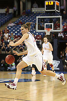 SACRAMENTO, CA - MARCH 29: Jeanette Pohlen dribbles up court in the final 4.4 seconds during Stanford's 55-53 win over Xavier in the NCAA Women's Basketball Championship Elite Eight on March 29, 2010 at Arco Arena in Sacramento, California.
