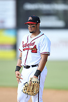 Ray Hernandez (28) of the Danville Braves in action against the Bluefield Blue Jays at American Legion Post 325 Field on July 28, 2019 in Danville, Virginia. The Blue Jays defeated the Braves 9-7. (Tracy Proffitt/Four Seam Images)