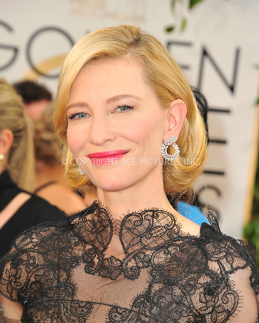 WWW.ACEPIXS.COM<br /> <br /> January 12 2014, LA<br /> <br /> Cate Blanchette arriving at the 71st Annual Golden Globe Awards held at The Beverly Hilton Hotel on January 12, 2014 in Beverly Hills, California<br /> <br /> By Line: Peter West/ACE Pictures<br /> <br /> <br /> ACE Pictures, Inc.<br /> tel: 646 769 0430<br /> Email: info@acepixs.com<br /> www.acepixs.com