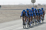 Garmin-Cervelo team warms up before the 2nd Stage of the 2012 Tour of Qatar a team time trial at Lusail Circuit, Doha, Qatar, 6th February 2012 (Photo Eoin Clarke/Newsfile)